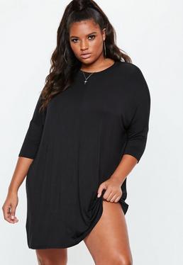 Plus Size – Oversize-T-Shirt-Kleid in Schwarz