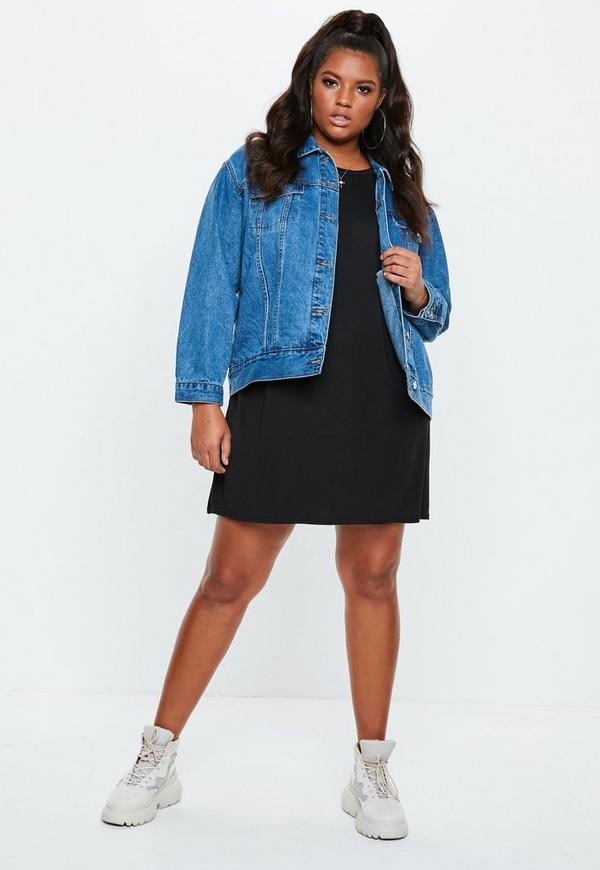 Curve Oversized T Shirt Dress Black Missguided