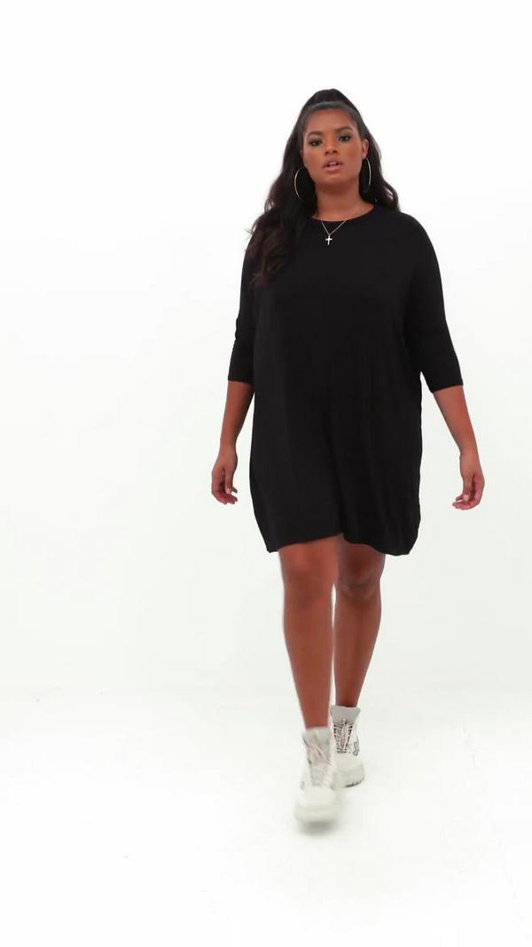 robe t shirt oversize noire grande taille robes grandes. Black Bedroom Furniture Sets. Home Design Ideas
