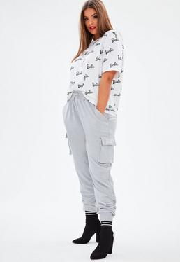 Barbie x Missguided Curve Grey Utility Trousers