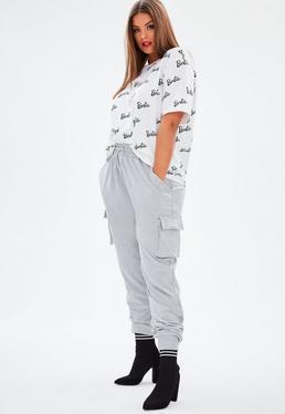 Barbie x Missguided Pantalón de chándal cargo talla grande en gris