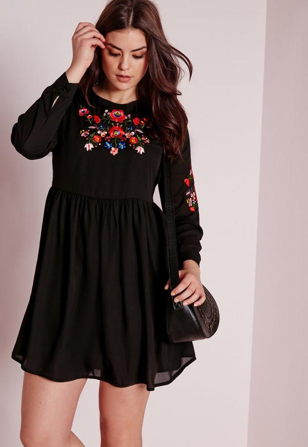 Plus Size Embroidery Dress Black