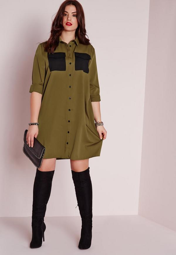 Plus Size Military Pocket Shirt Dress Khaki