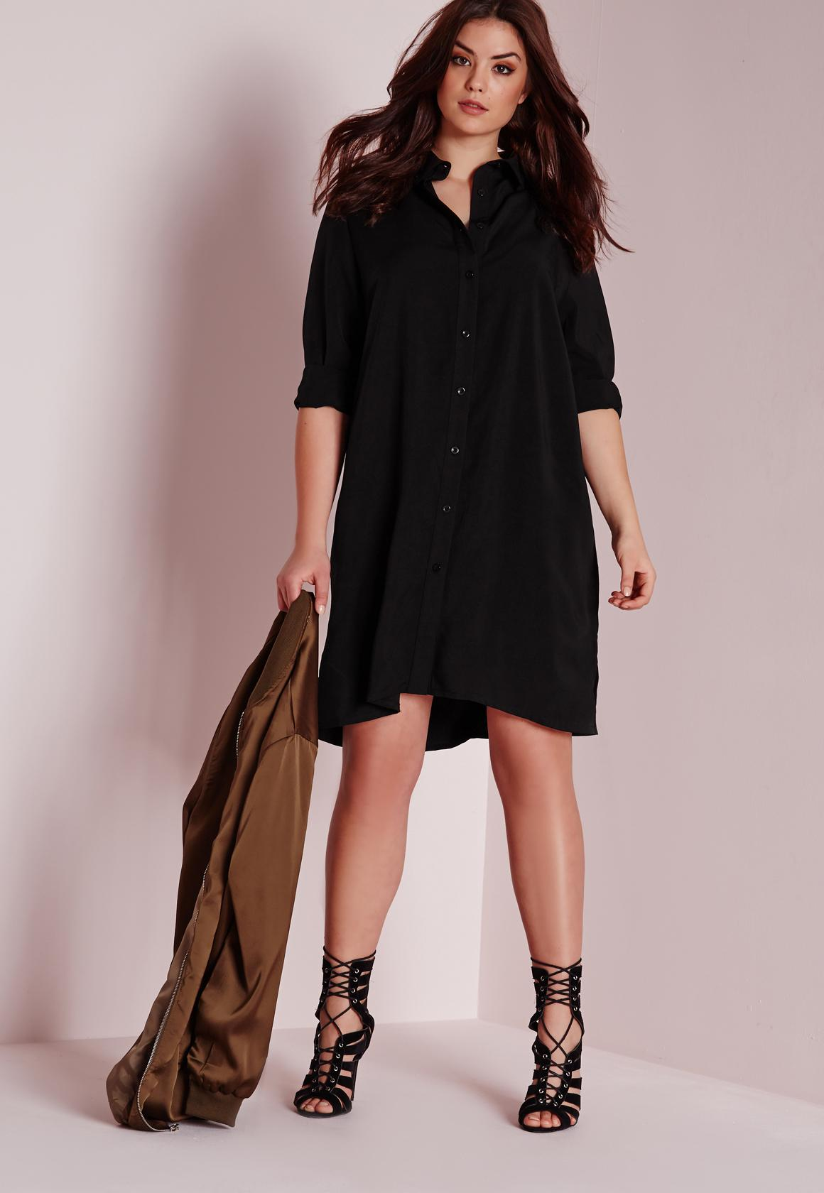 plus size shirt dress black | missguided