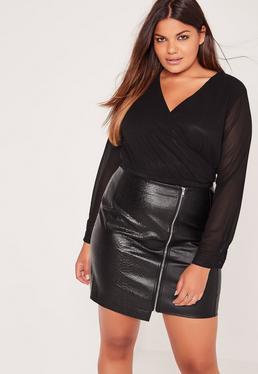 Plus Size Zip Detail Faux Leather Mini Skirt Black