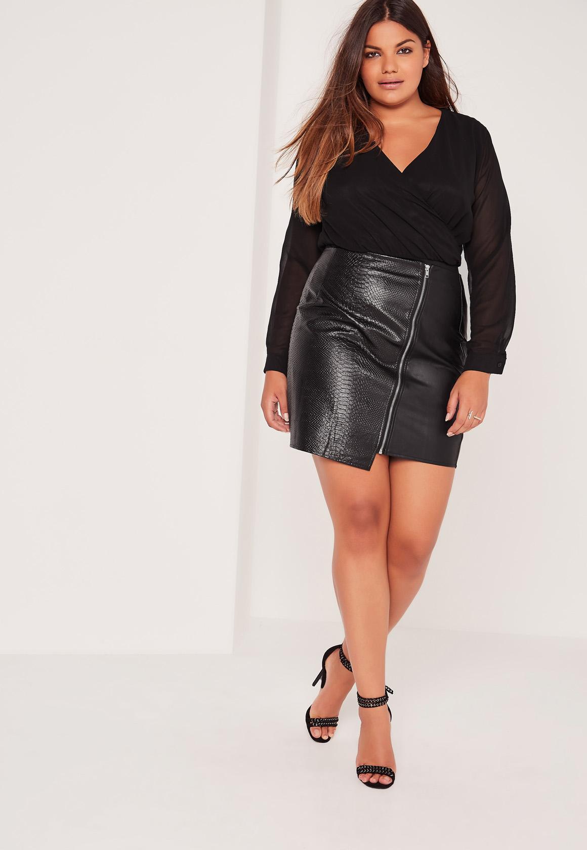 Plus Size Zip Detail Faux Leather Mini Skirt Black | Missguided