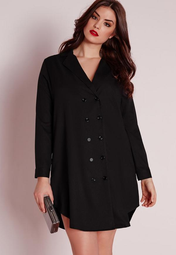 Plus Size Tux Shirt Dress Black