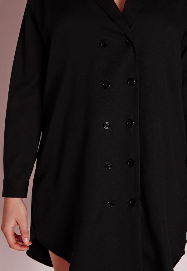 Plus size tux shirt dress black missguided for Tuxedo shirt vs dress shirt