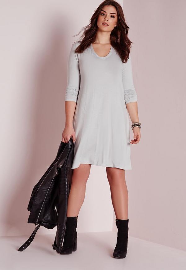 Plus size v neck swing dress ice grey