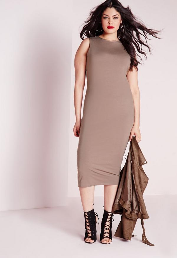Plus Size Sleeveless Bodycon Midi Dress Taupe