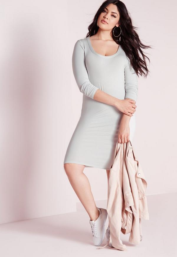 Plus Size Midi Long Sleeve Dress Ice Grey