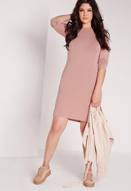 Plus Size Long Sleeve Bodycon Dress Pink