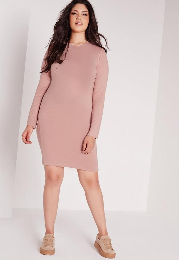 Plus Size Long Sleeve Bodycon Dress Pink Missguided