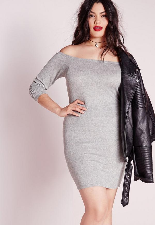 Plus Size Bardot Ribbed Bodycon Dress Grey