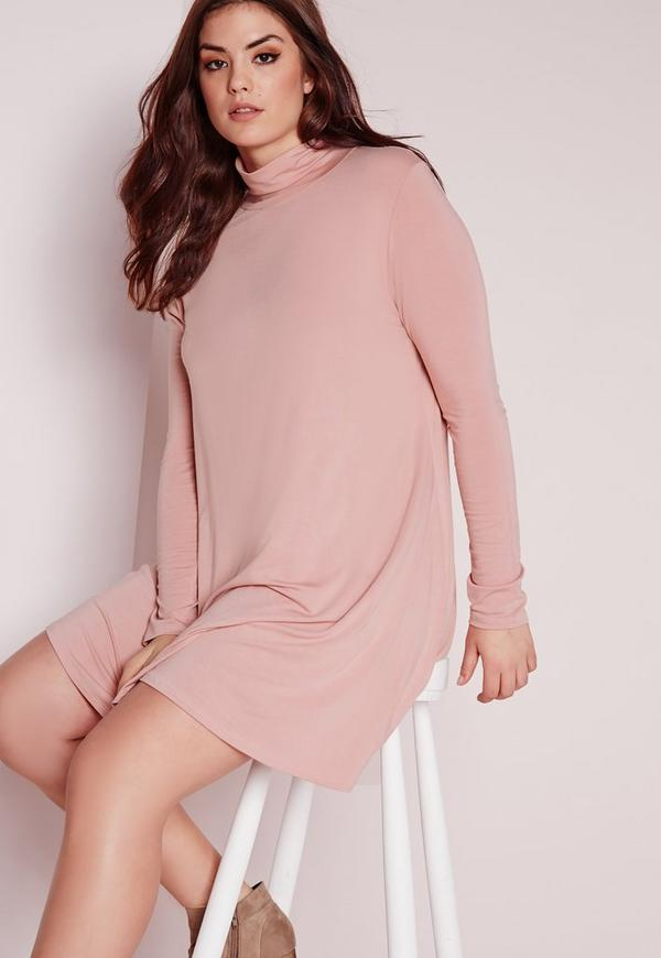 Plus Size Swing Dress Pink Missguided