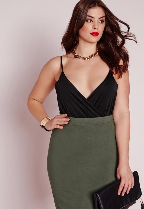 Plus Size Slinky Skinny Strap Bodysuit Black