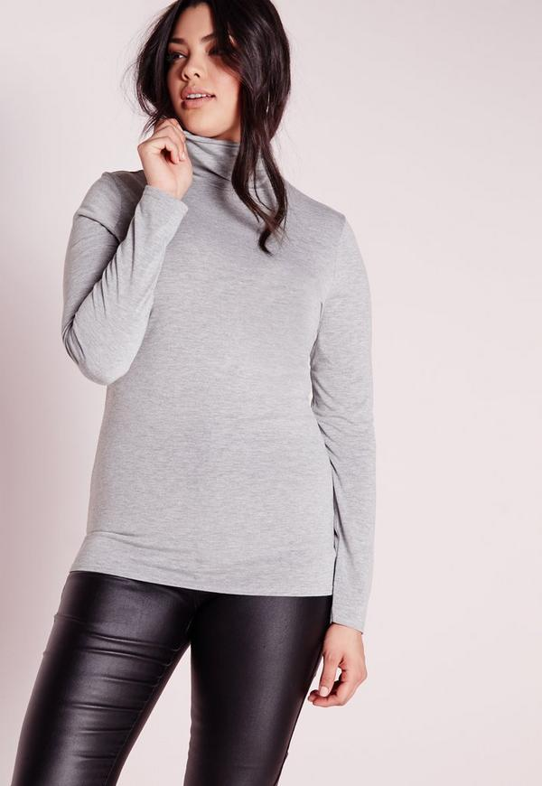 Plus Size Roll Neck Top Grey