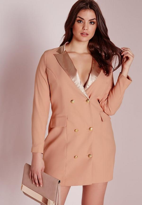 Plus Size Tux Satin Collar Shirt Dress Nude Missguided