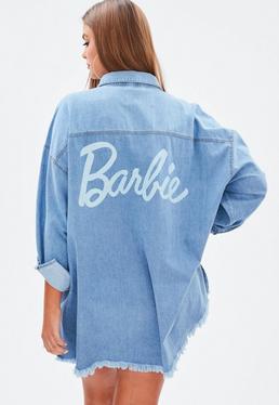 Barbie x Missguided Curve Blue Denim Shacket