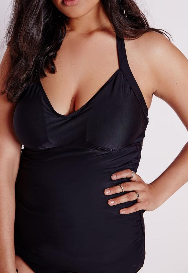 Plus Size Halter Neck Tankini Top Black | Missguided