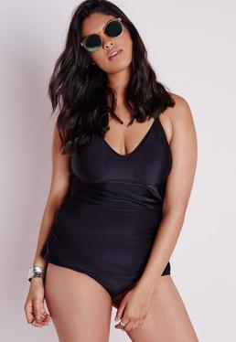 Bas de bikini froncé grande taille noir