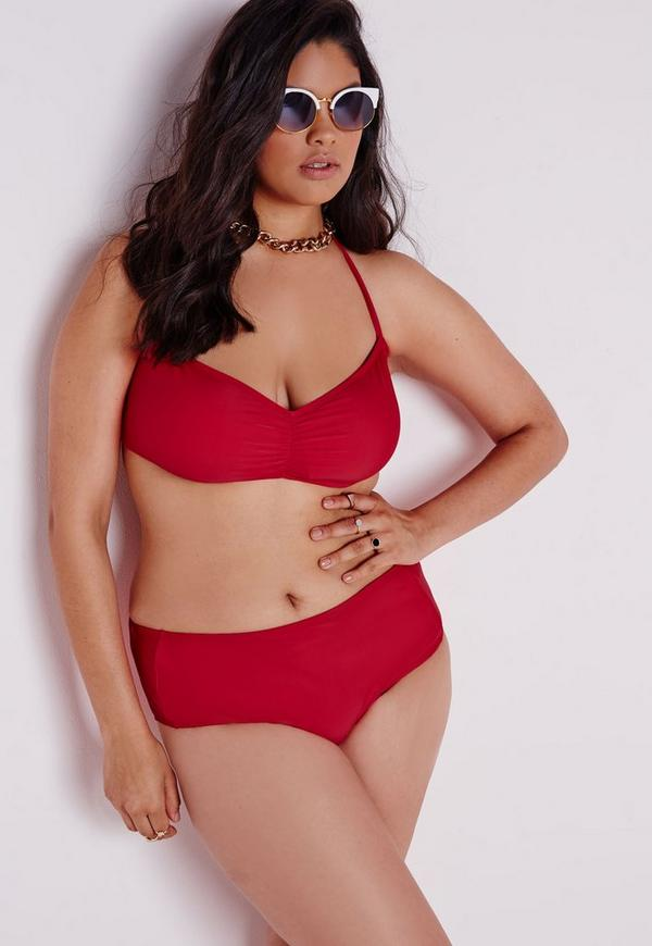 Plus Size High Waisted Bikini Bottoms Red