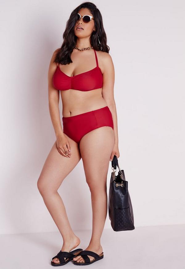 bas de bikini taille haute grande taille rouge missguided. Black Bedroom Furniture Sets. Home Design Ideas