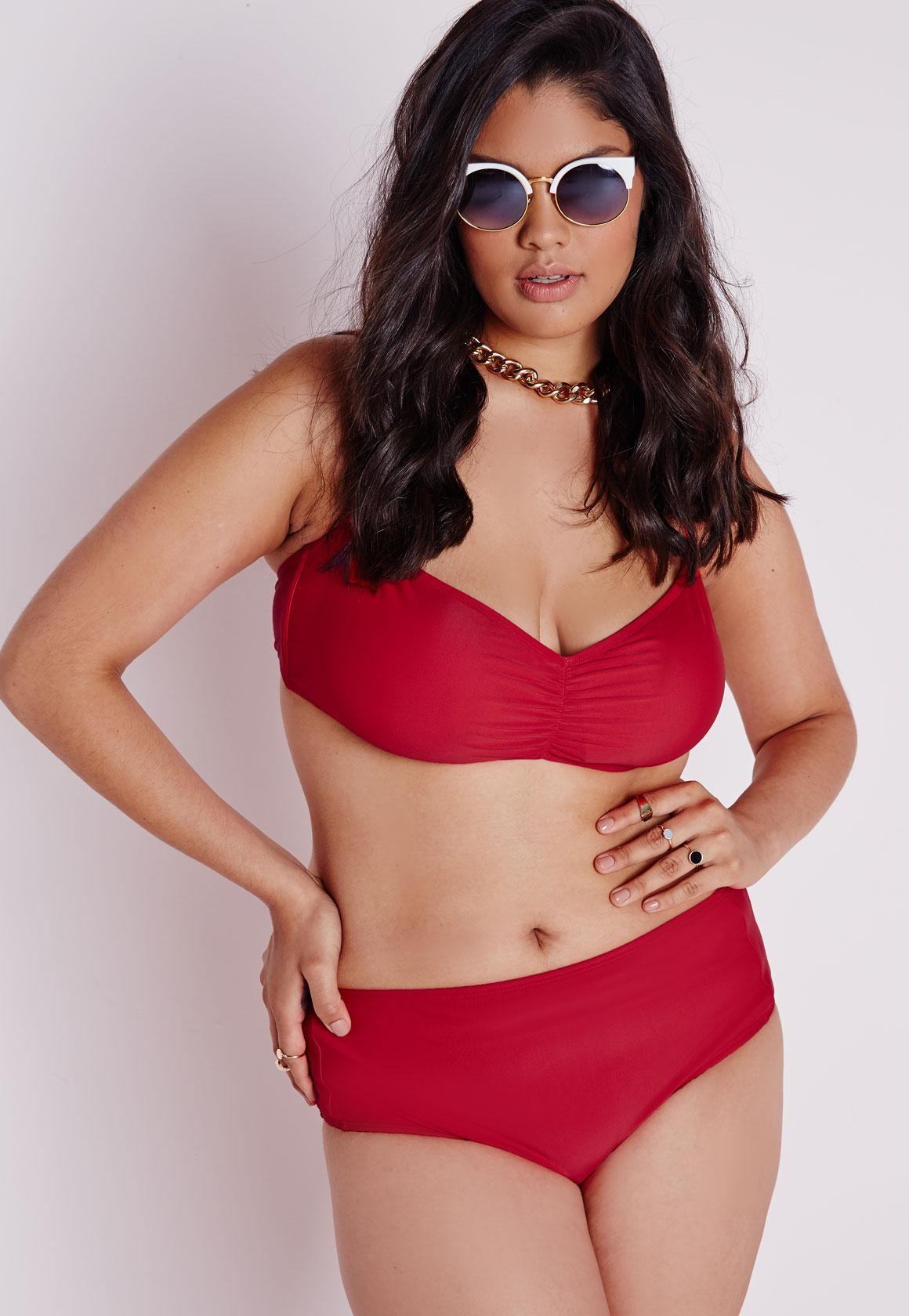 Plus Size High Waisted Bikini Bottoms Red | Missguided