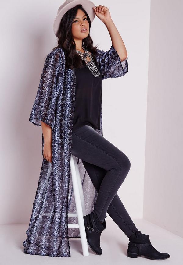 Plus Size Snake Print Kimono