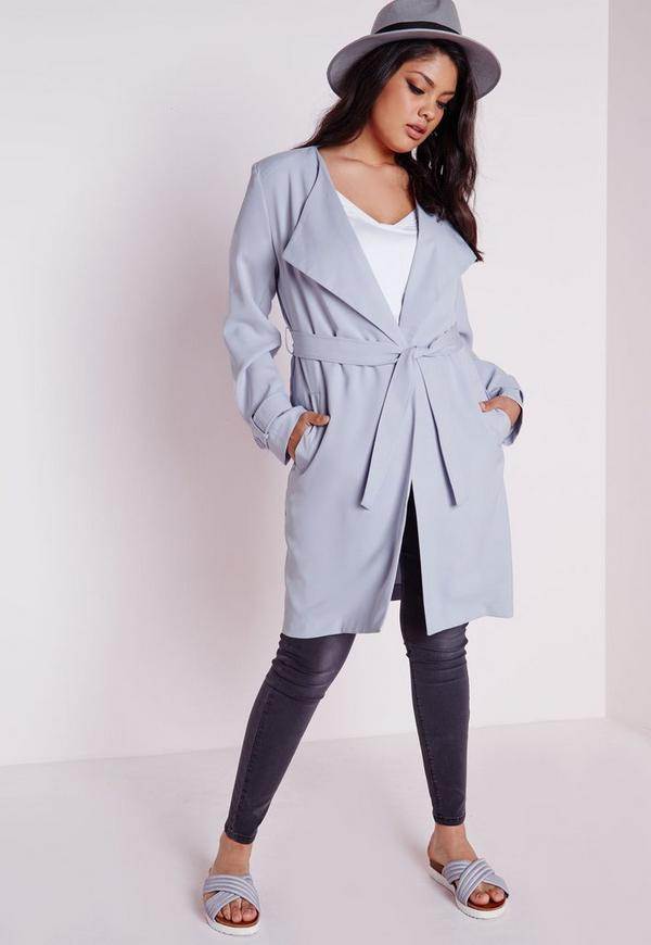 Plus Size Longline Crepe Mac Light Blue