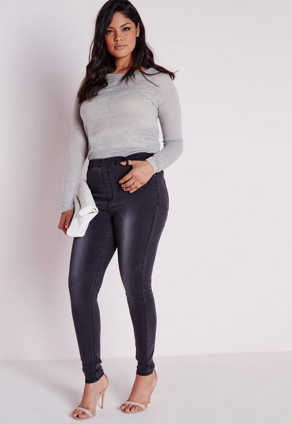 Plus Size Denim Jeggings Black