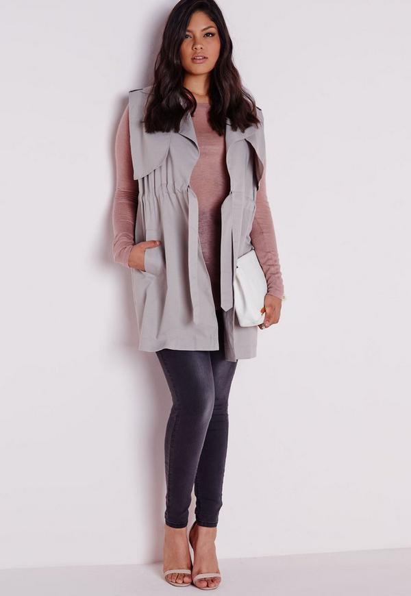 Plus Size Sleeveless Jacket Light Grey