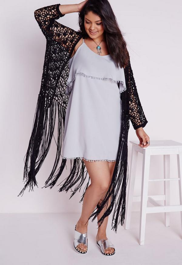 Plus Size Crochet Long Tassel Cardigan Black