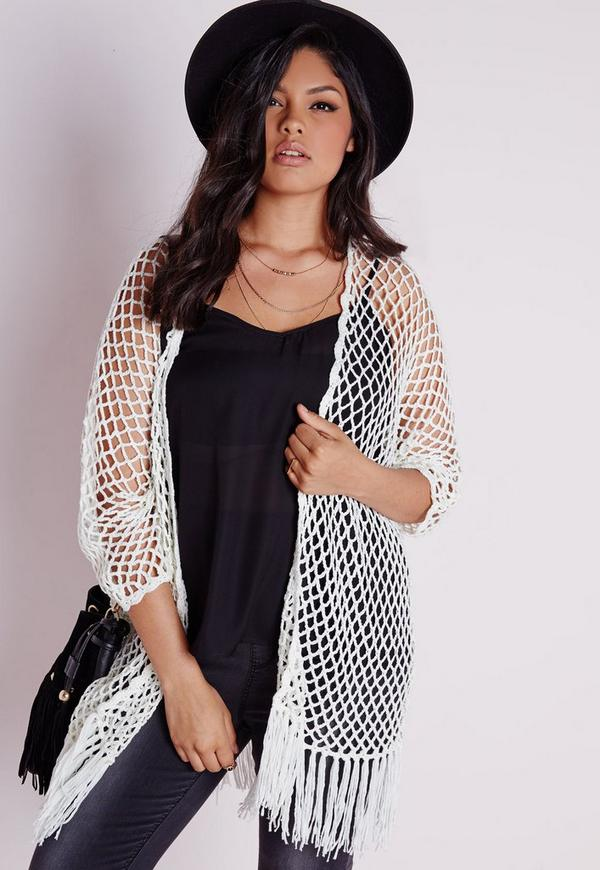 Plus Size Fishnet Crochet Cardigan White