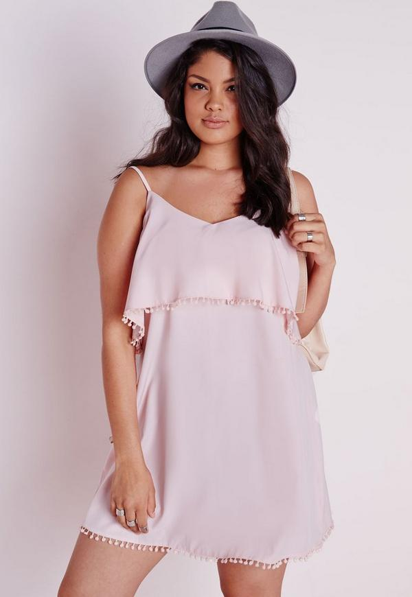 Plus Size Frill Detail Strappy Dress Pink