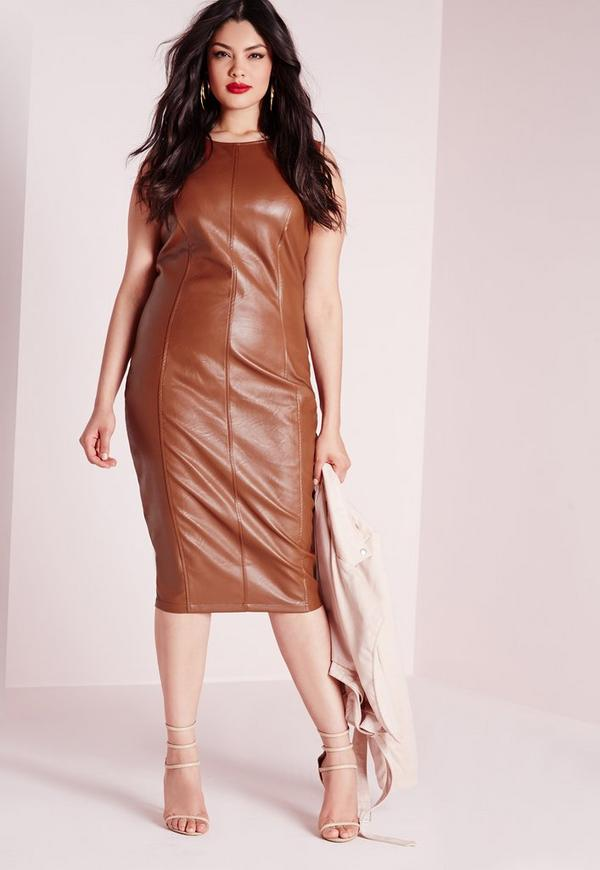 Plus Size Leather Zip Back Midi Dress Tan