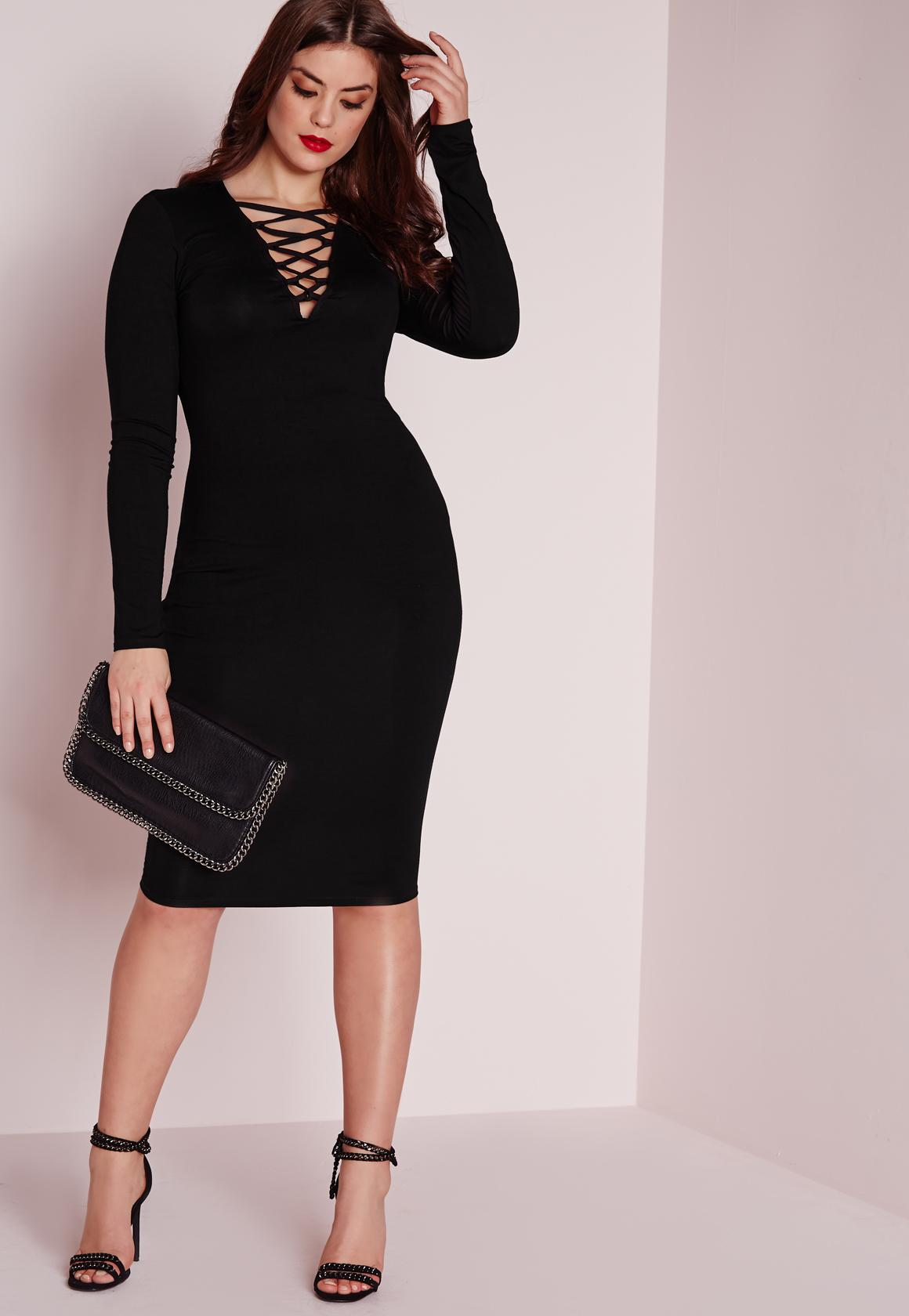 Plus Size Lace Up Dress Black | Missguided