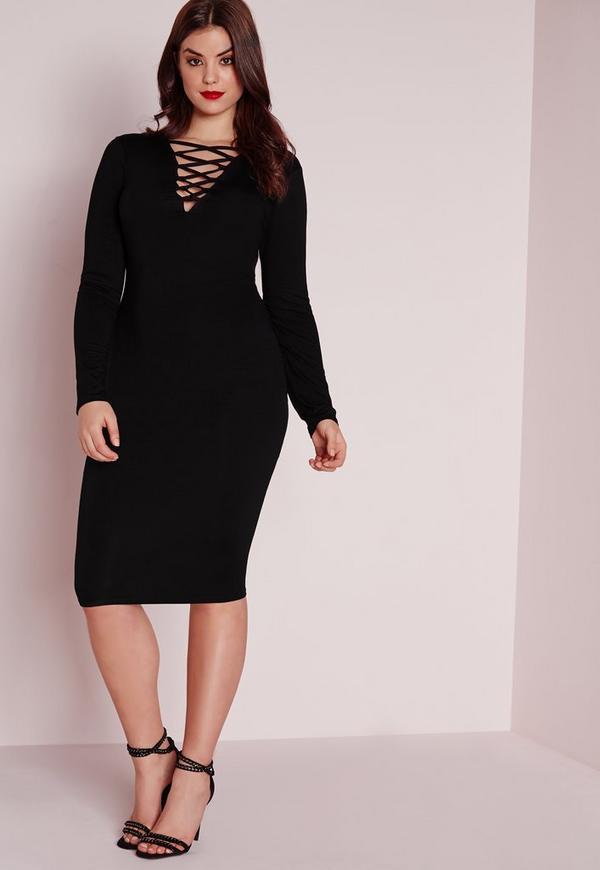 Plus Size Lace Up Dress Black Missguided