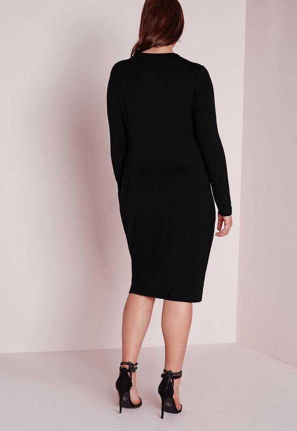 Plus-Size-Kleid mit Schnürung in Schwarz   Missguided