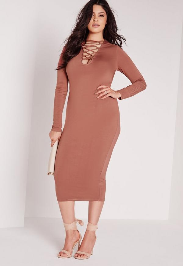 Plus Size Lace Up Dress Tan Missguided