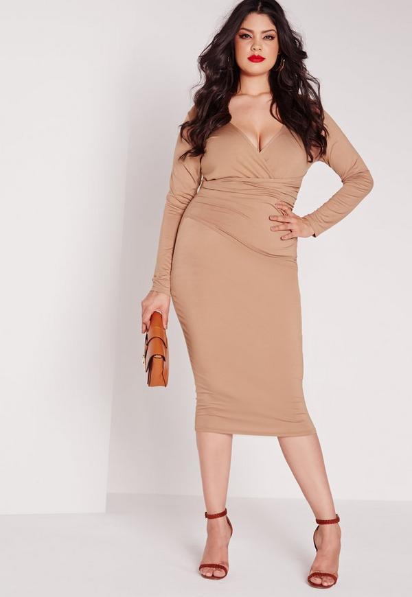 Plus Size Ruche Wrap Dress Camel