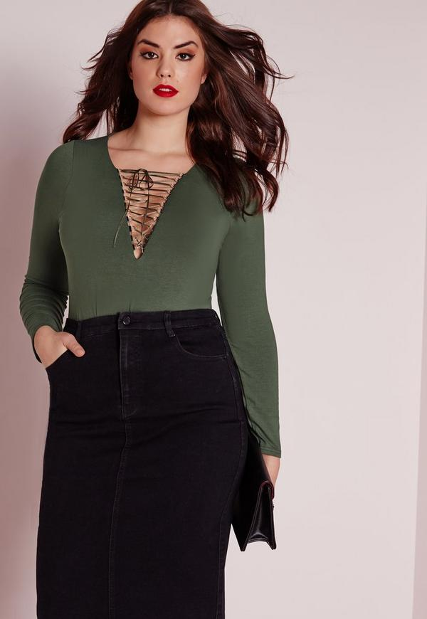 Plus Size Lace Up Bodysuit Khaki