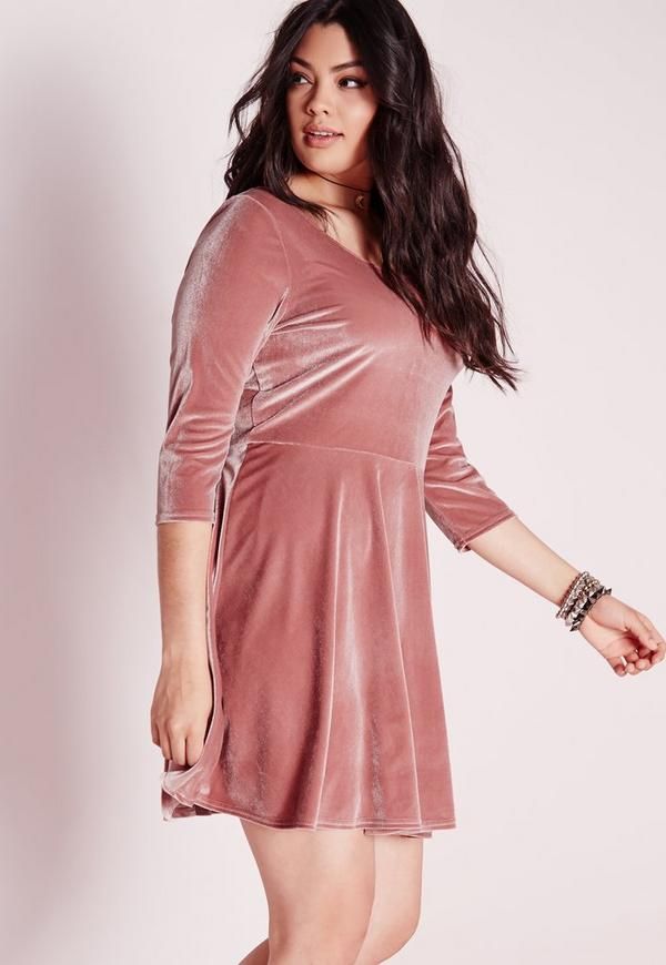 Plus Size Velvet Skater Dress Pink
