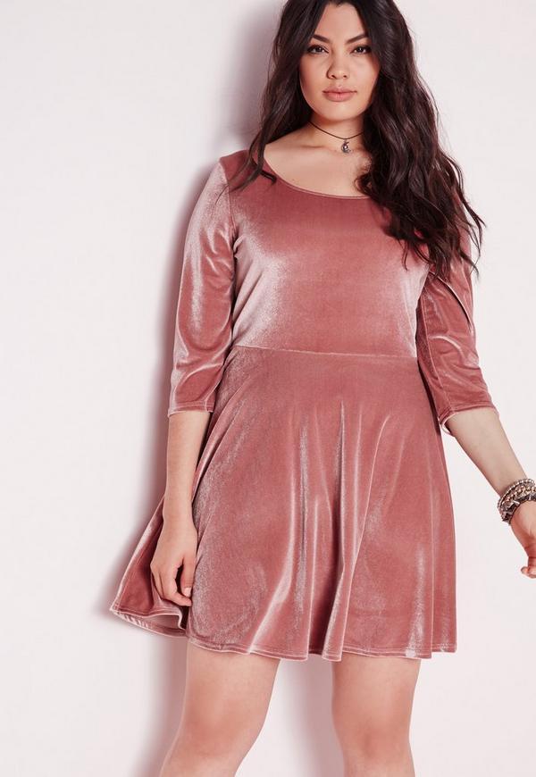 Plus Size Velvet Skater Dress Pink Missguided