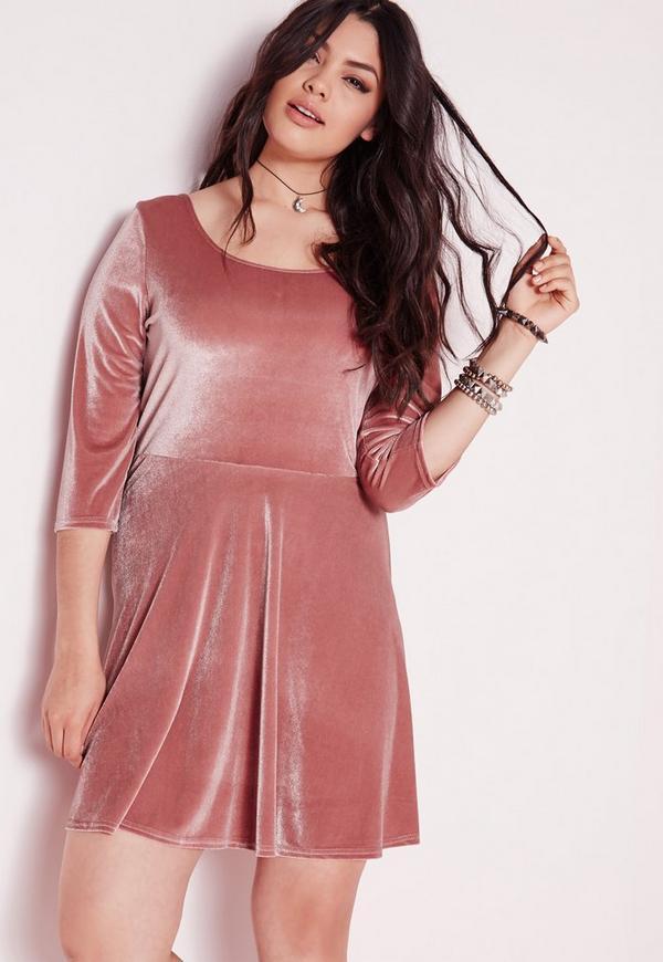 Plus Size Velvet Skater Dress Pink | Missguided