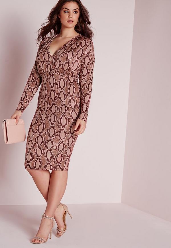 Plus Size Snake Print Plunge Dress Pink