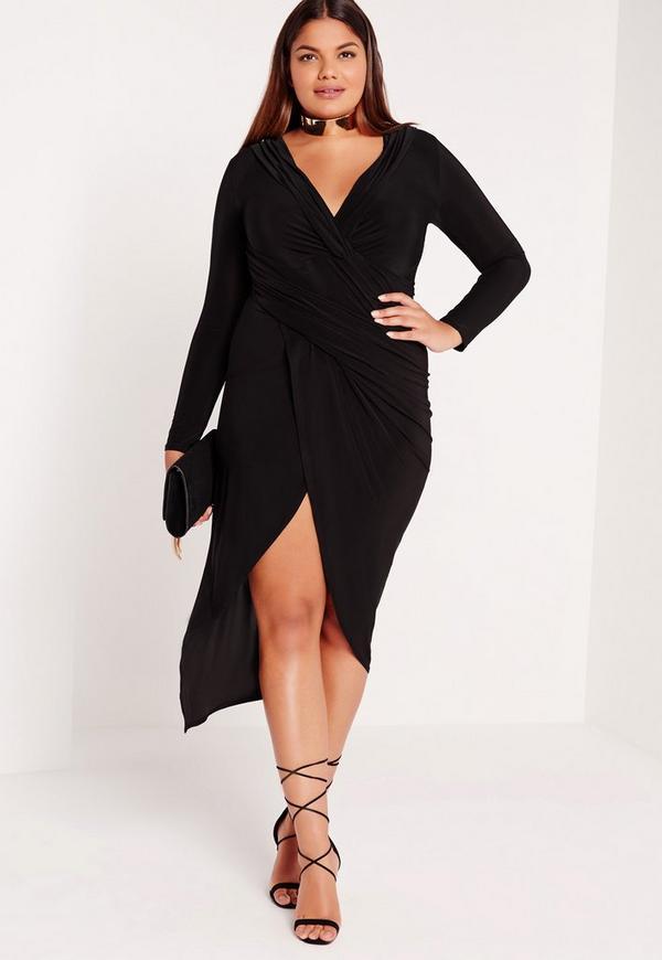 Plus Size Slinky Wrap Skirt Dress Black