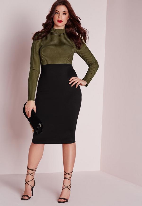Plus Size Contrast Ribbed Midi Dress Khaki