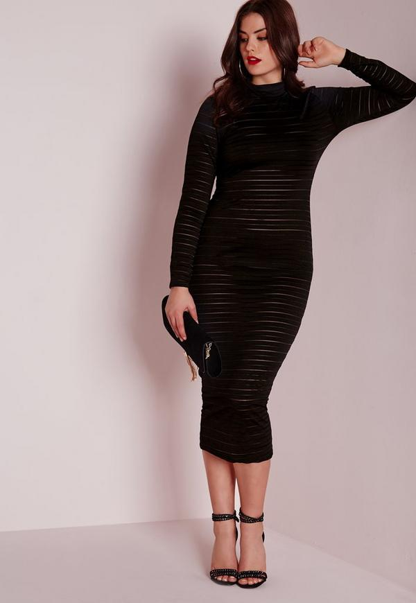 Plus Size Ribbed Slinky Midi Dress Black