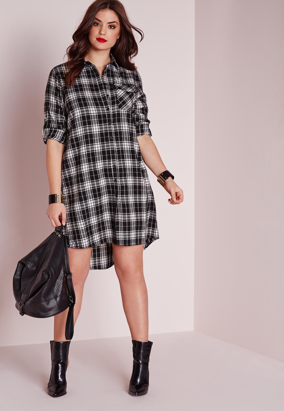 plus size checked shirt dress black | missguided